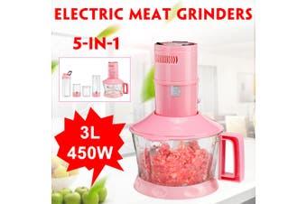 220V 3L 5-in-1 2 Speed Electric Meat Grinder Stainless Steel Sausage Mincer Food Chopper Portable Cup+2x Grinding Cup+ Juicer Cup+ Meat Grinder(European plug)