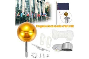 Pulley Flag Pole Parts Nylon Braided Rope Gold Ball Screw Flagpole Accessory