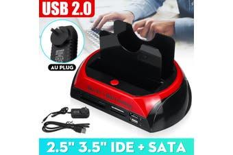 USB 2.0 HDD Docking Station 2 Port External Hard Drive Card SATA IDE Card Reader(low quality(AU Plug))