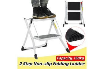 150KG Max Weight Capacity 2 Step Folding Ladder Stool Anti Slip Safety Platform