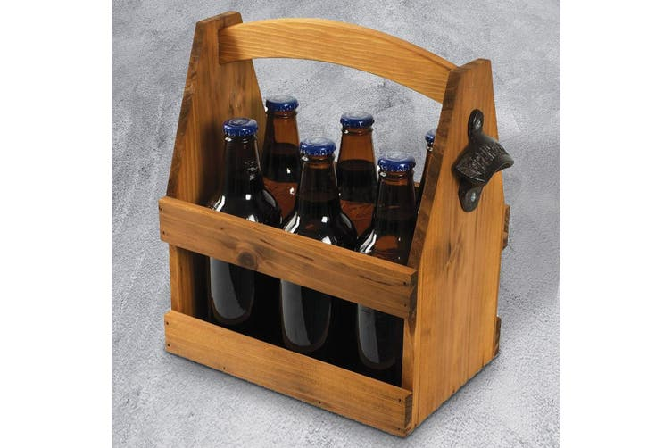 Timber Beer Caddy with Retro Cast Bottle Opener