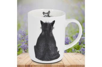 Cat Watching Mouse Designer Bone China Mug | Bob Bowdige