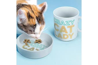Matching Ceramic Crazy Cat Lady Mug & Cat Bowl Set