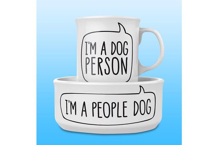 Matching Ceramic Dog Person Mug & Dog Bowl Set