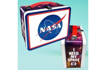 "NASA Logo ""I Need My Space"" Retro Tin  Lunch Box With Carry Handle"