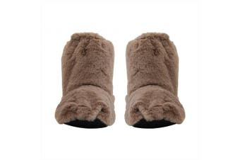 Heat Feet: Microwavable Slippers - Taupe