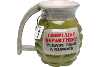Complaint Department Grenade Ceramic Coffee Mug | tea cup complaints