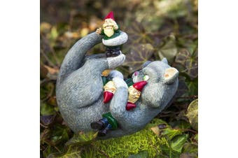 Funny Novelty Cat Attack Garden Gnome Statue