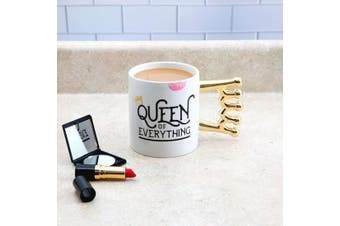 `The Queen of Everything` Oversized Metallic Crown Handle Mug 590mls