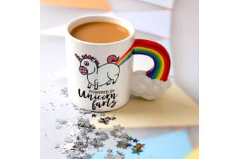 `Powered By Unicorn Farts` Rainbow Handle Novelty Mug 590mls