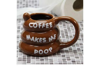 Coffee Makes Me Poop! Poo Shaped Mug – Tea Cup Hot Drink Funny Brown Gag Gift Toilet Humour Joke