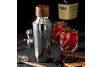 Acacia Wood Cap Stainless Steel Cocktail Shaker