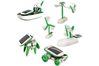 6-in-1 Solar Construction Building DIY Kit | 3M plane car windmill boat puppy