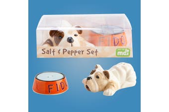 Bulldog & `Fido` Dog Bowl Hand-Painted Ceramic Salt & Pepper Shakers