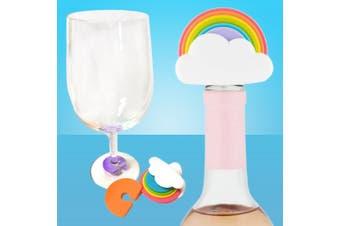 Rainbow Bottle Stopper & Wine Markers Set - 7 Pieces