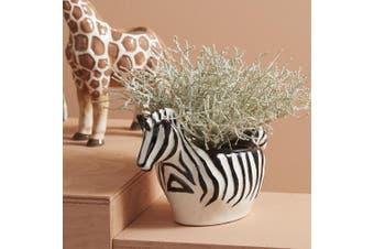 Safari Style Small 3D Zebra Planter Pot Trinket Bowl 22cm | Emporium