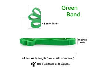 2Packs Resistance Band 1.3cm Green (15-35lb) Exercise Stretching