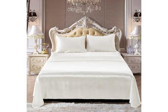 Silky Satin Bed Sheet 4pcs Set for Queen - White