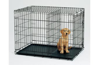 30' Collapsible Metal Dog Crate Cage Cat Carrier With Divider