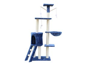 138cm Cat Scratching Post Tree Post House Tower with Ladder-Blue