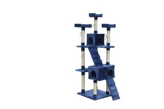 180 cm Cat Kitten Scratching Post Tree W ladder-Blue
