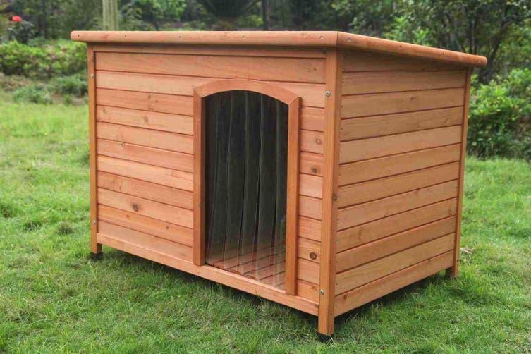 Large Timber Pet Dog Kennel House Puppy Wooden Timber Cabin With Stripe Matt Blatt