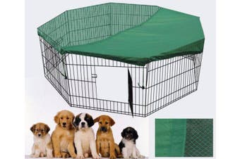 24' Dog Rabbit Playpen Exercise Puppy Enclosure Fence With Cover