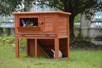 Double Storey Rabbit Hutch Guinea Pig Cage , Ferret cage W Pull Out Tray