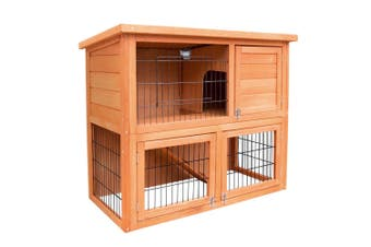 Double Storey Wooden Rabbit Hutch Chicken Coop Guinea Pig Cage