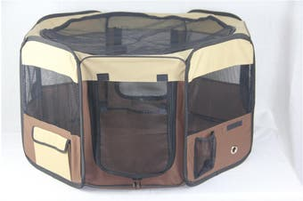 Medium Brown Pet Dog Cat Puppy Rabbit Tent Soft Playpen