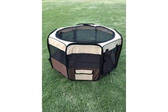 75 cm Foldable Large Brown Dog Puppy Soft Playpen Enclosure