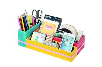 Leather 6-Compartments DIY Desk Organiser