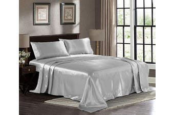 Silky Satin Bed Sheet Set - Single Silver Premium Ultra Soft