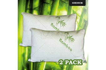 Bamboo Pillow 64 x 45 - SET OF 2 - Shredded Memory Foam with Bamboo Cover