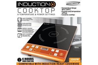 Induction Cooktop 2000W Adjustable Temperature & Pre Set Functions