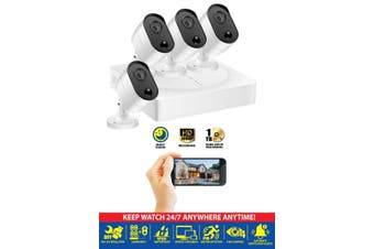 4 CHANNEL SMART HD SECURITY SYSTEM NIGHT VISION MOTON SENSOR