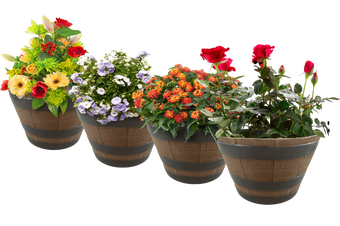 Decorative Whiskey Barrel Planters Wooden look flower pots