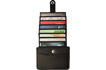 Pop Up Wallet easy Card access LPU Leather RFID Protection
