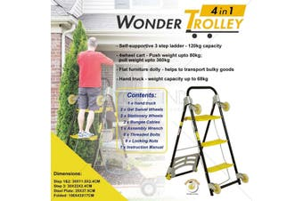 4 in 1 Wonder trolley Step Ladder, Push cart, Furniture dolly and Hand Truck