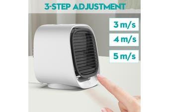 3 Gear Air Conditioner Humidifier Purifier Light Personal Air Cooler Air USB Powe(white)