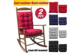 2PCS Chair Pad Mat Rocking Chair Recliner Seat Back Cushion Office Sofa Home(Blue)