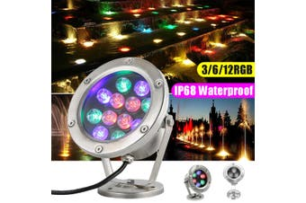 RGB LED Underwater Light Waterproof Garden LED Light Rainproof for Swimming Pool Fish Tank Pond Party(12W)