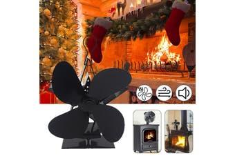 Heat Fireplace Fan 4 Blades Winter Warm Heater Eco Friendly Quiet Burner Fan(4 Blades)