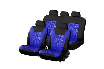 Car Seat Cover Universal Car Seat Cover Fabric Special Craft Wish Tire Pattern Four Season Use(blue,9 PCS)