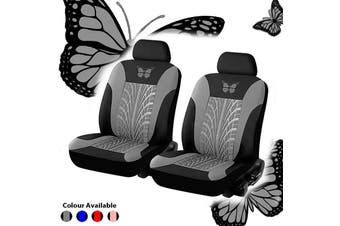 4-piece Set Beautiful Butterfly Universal Car Seat Cover Fabric Special Craft Dirt-resistant Wear-Resistant Washable Four Season Use(gray)