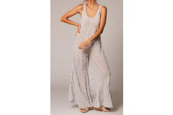 S-5XL Jumpsuit Vest One-piece Trousers Striped Stitching Casual Loose Wide Leg Flared Pants(navy,4XL)