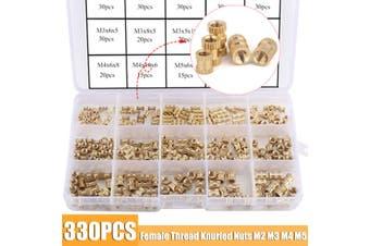 Brass Threaded Insert Round Kit 330PCS Female Thread Knurled Nuts M2 M3 M4 M5