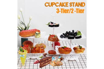 2-Tier/3-Tier Square Circle Love Cupcake Stand Cake Dessert Wedding Event Party Display Towers Plate (Rectangle 2 Tier)