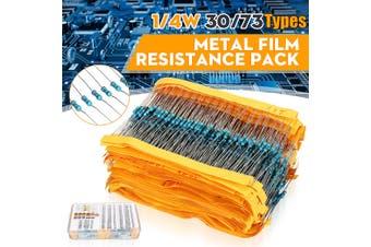 1/4 Power Carbon Film Resistor Assortment Kit Metal Films Resistors Resistance(30 kind)