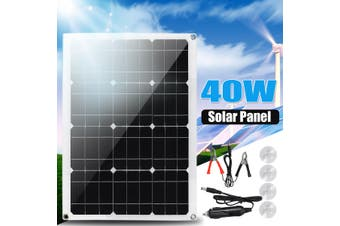 40W Solar Panel DC18V AC5V Dual USB Monocrystalline Charger with 4Pcs Suckers for Car Boat Camping Outdoor Motorhome RV Home
